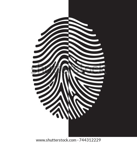 Fingerprint Symbol In Tribal Style Contrast Positive Negative Composition Creative Concept