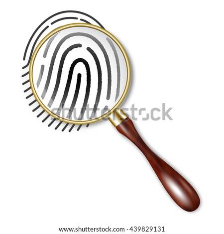 fingerprint under a magnifying glass - stock vector