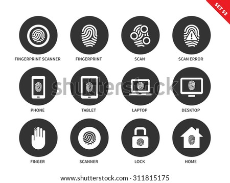 Fingerprint vector icons set. Safety verification concept. Iconf for digital systems, scanning, phone, tablet, laptop security, lock, scanner. Isolated on white background. - stock vector