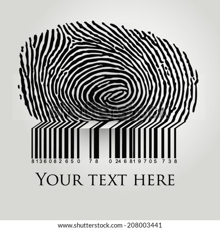 Fingerprint vector illustration with barcode - stock vector