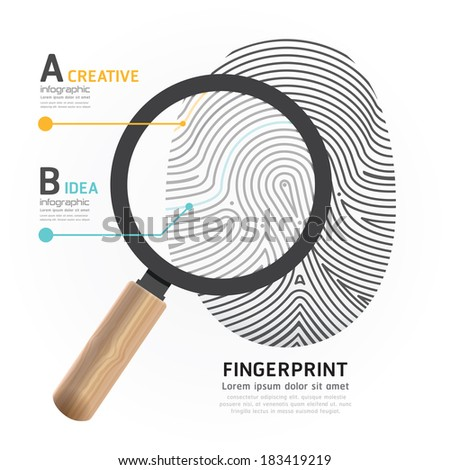 Fingerprint with magnifier vector illustration. - stock vector