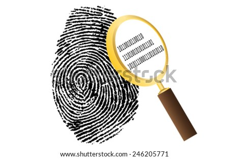fingerprint with magnifying glass and binary code security vector illustration - stock vector