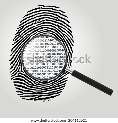 Fingerprint with magnifying glass and binary code - vector illustration - stock vector