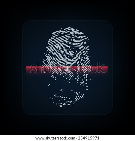 Fingerprint with red scanner. Biometric authorization concept - stock vector