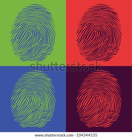 fingerprints detailed illustration pop art style - stock vector