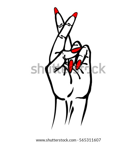 fingers crossed symbol hand sign art stock vector 565311607 rh shutterstock com fingers and toes crossed clipart fingers and toes crossed clipart