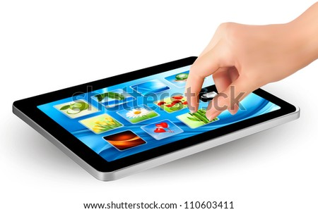 Fingers touching screen of touchpad with icons. Vector. - stock vector