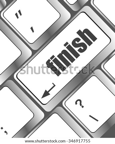 finish button on black internet computer keyboard vector illustration