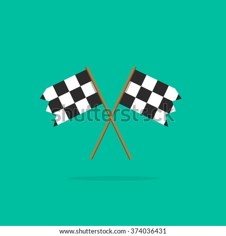 Finish flag vector icon, two racing finishing flags pictogram in linear outline emblem, symbol of sport competition completion, winning flat simple black and white style design isolated - stock vector