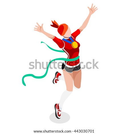 Finish Line Running Woman Athletics 2016 Summer Games Icon.Win Concept.3D Isometric Win Runner Athlete.Sport of Athletic Sporting Competition.Sport Infographic Track Field olympics Vector Illustration - stock vector