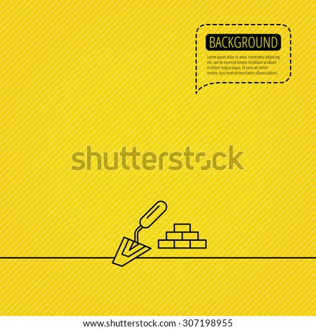 Finishing icon. Spatula with bricks sign. Speech bubble of dotted line. Orange background. Vector - stock vector