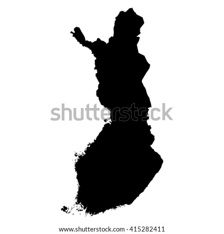 Finland black map on white background vector