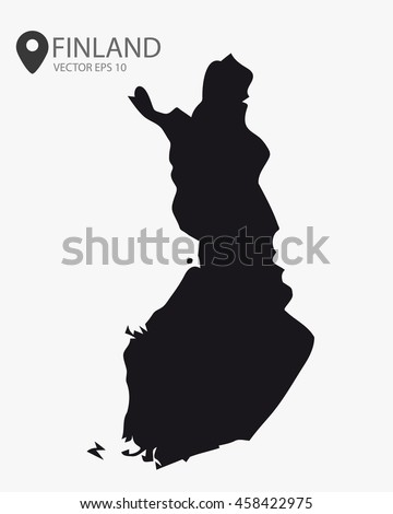 Finland black map vector illustration