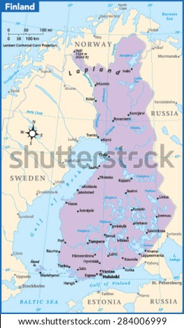 Finland Country Map - stock vector