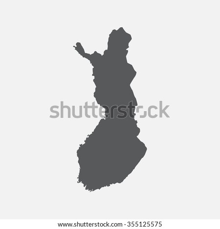 Finland country map,border grey color. Vector EPS8
