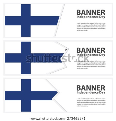 finland Flag banners collection independence day - stock vector