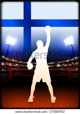 Finland Flag with Boxer on Stadium Background Original Illustration - stock vector
