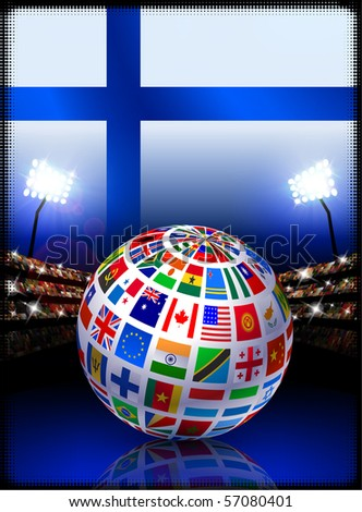 Finland Flag with Globe on Stadium Background Original Illustration