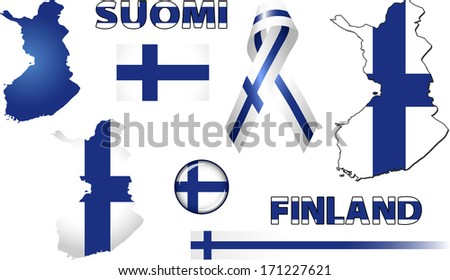 Finland Icons. Set of vector graphic images and symbols representing Finland. The text says 'Finland' in the Finnish language. - stock vector