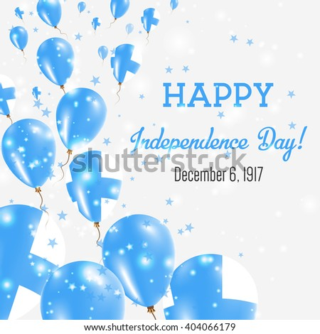 Finland Independence Day Greeting Card. Flying Balloons in Finland National Colors. Happy Independence Day Finland Vector Illustration. - stock vector