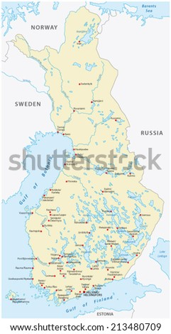 finland map, cities in Finnish and Swedish language - stock vector