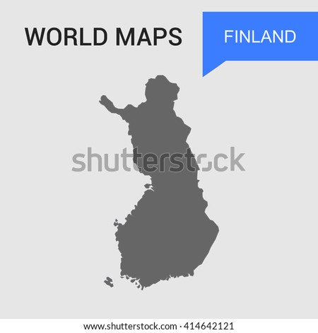 Finland Map vector. country border map. - stock vector