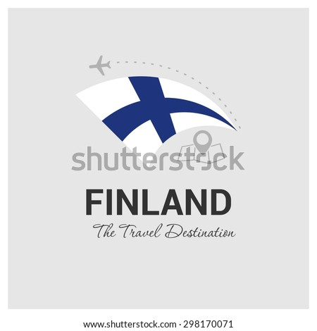 Finland The Travel Destination logo - Vector travel company logo design - Country Flag Travel and Tourism concept t shirt graphics - vector illustration - stock vector