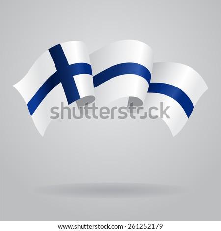 Finnish waving Flag. Vector illustration Eps 8. - stock vector