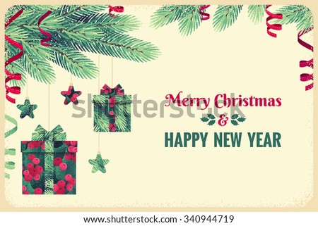 Fir branch and Christmas decorations with holly leaves and berries. Gift boxes, stars, green and red paper streamers. Place for your text. Design for invitation, card, poster, flyer, gift certificate  - stock vector