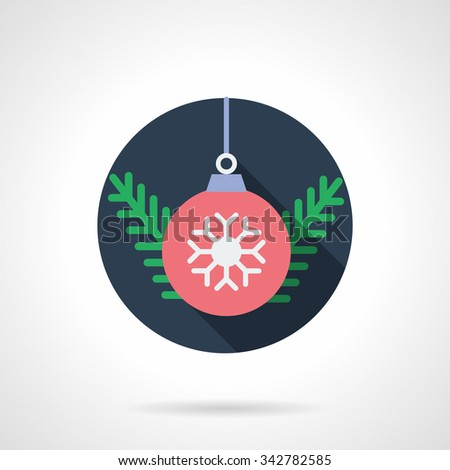 Fir branch and red bauble with white snowflake. Christmas decoration, seasonal holidays. Blue round flat color vector icon. Single web design element for mobile app or website. - stock vector
