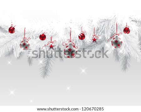 Fir branches decorated with Christmas baubles and stars - stock vector