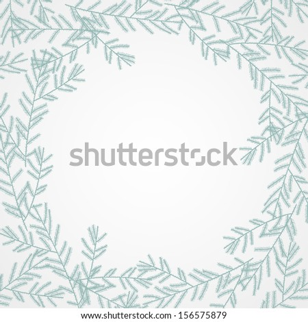 Fir branches frame. Vector illustration - stock vector