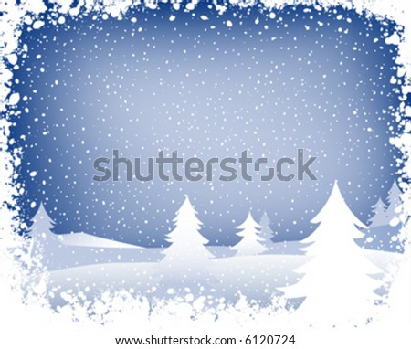 fir forest in wintertime with falling snow - stock vector