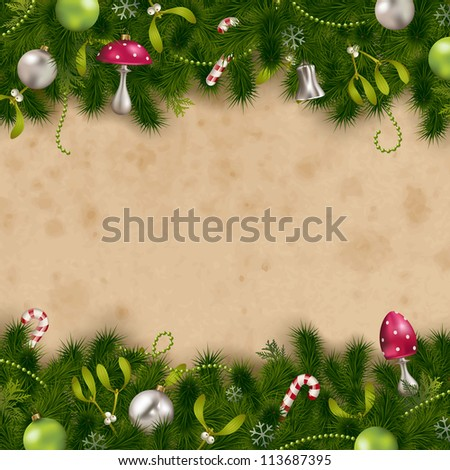 fir tree border with ornaments on a stained paper background - perfect for holiday greeting cards - stock vector