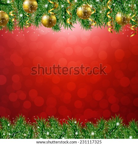 Fir Tree Border With Red Background With Gradient Mesh, Vector Illustration - stock vector