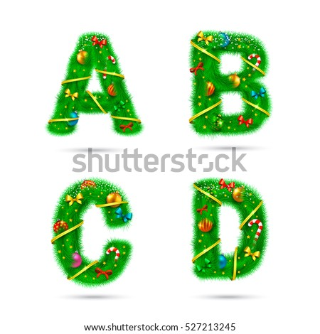 Fir tree font letters. Christmas and New Year holiday design elements.