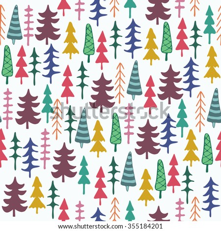 Fir tree seamless pattern colorful. Vector illustration. Christmas trees. Happy New Year background. Winter holidays. Child drawing style trees. - stock vector