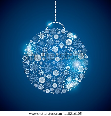 fir-tree sphere consisting of a scattering of scintillating shining snowflakes - stock vector