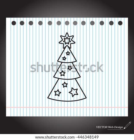 Fir tree vector line icon.