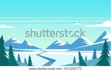 Fir-tree, Winter landscape, beautiful landscape, mountains and trees, vector illustration, cartoon style - stock vector