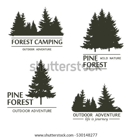 Fir Trees Silhouette Logo Plant Wood Stock Vector 530148277
