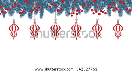Fir Twig Decoration with Baubles - stock vector