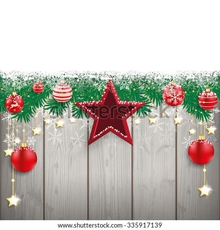 Fir twigs with snow and red stars and baubles on the wooden background. Eps 10 vector file. - stock vector