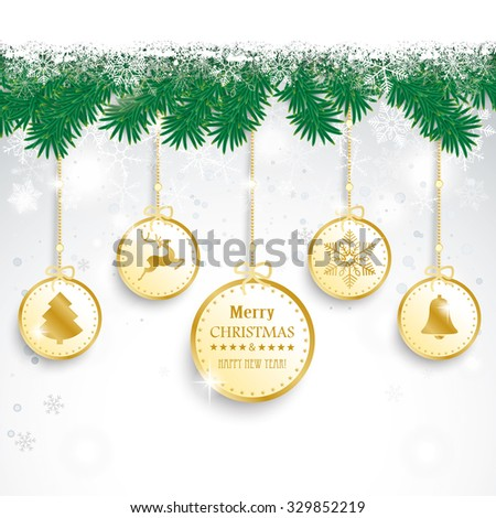 Fir twigs with snow on the bokeh background. Eps 10 vector file. - stock vector