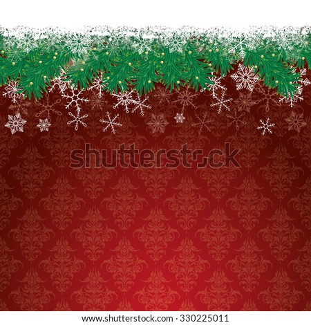 Fir twigs with snow on the red background with ornaments. Eps 10 vector file. - stock vector