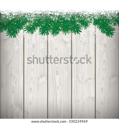 Fir twigs with snow on the wooden background. Eps 10 vector file. - stock vector