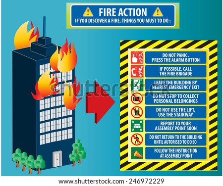 Fire action emergency procedure (do not panic, call fire brigade, leave by nearest emergency exit, report to assembly point) illustration, easy to modify  - stock vector