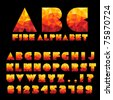 Fire Alphabet With Numbers - stock photo