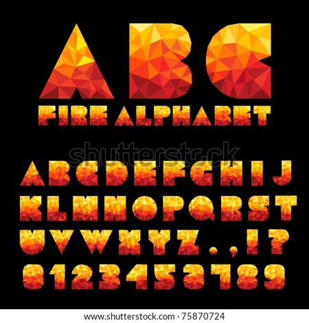 Fire Alphabet With Numbers - stock vector