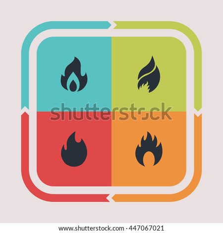Fire and burn icons. Flame pictogram. Hot vector graphic. Blaze design collection.